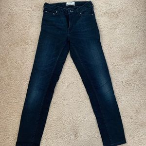 women's slim leg dark blue denim jeans